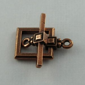 Toggle Clasp, Copper, Deco Square