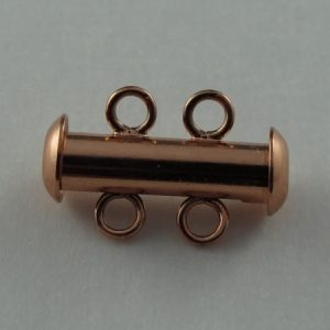 Clasp, Tube Slider, Copper, 2-strand, package of 10