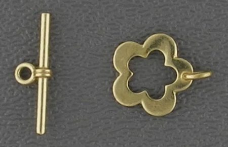 Toggle Clasp, brass, flower