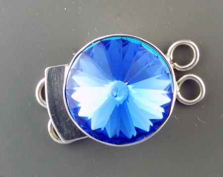 Box Clasp, SS, Round, Swarovski Sapphire Faceted Stone