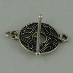 Toggle Clasp, SS, fancy scroll pattern