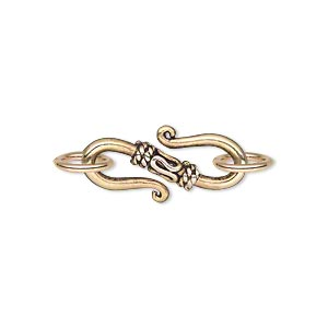 S-Hook Clasp, Antique Gold Finish Pewter, Rope design