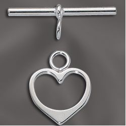 Clasp, Toggle, SF, Heart, 14 mm