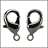 Lobster Clasp, Black, 15 x 9 mm, pkg of 2