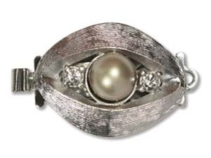Box Clasp SP, Gray Pearl with crystals
