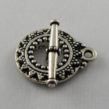 Toggle Clasp, Silver, Antique Bali Design