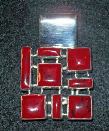 SS Pendant, Open Square with 8 Geometric Coral stones