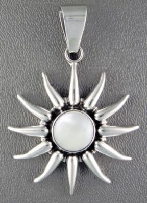 Pendant, SS. Starburst with Mother of Pearl