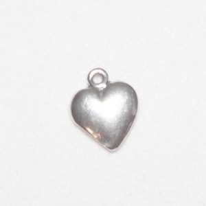 Charm, SS, Small shiny heart, pkg of 3