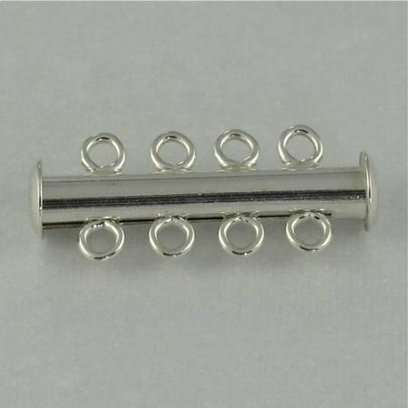 Tube Slider Clasp, SS, 4-strand