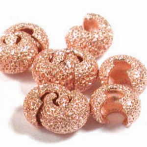 Crimp Bead Cover, Copper, Star Dust, 4 mm, pkg of 10