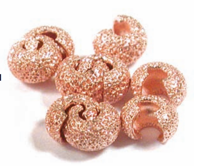 Crimp Bead Cover, Copper, Star Dust, 4 mm, pkg of 10