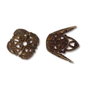 Bead Cap, Brass, Vintaj Filigree, pkg of 10