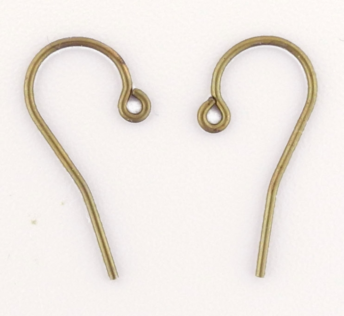 Earwires, Brass, Vintaj, Fine French 12mm x 6mm, Pair