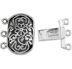 Box Clasp rectangular, Silver 3 strand