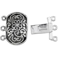 Box Clasp rectangular, Silver 3 strand