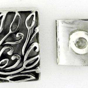 Box Clasp, SS, Rectangular, Antique detail, 2 strand