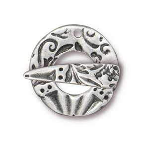 Clasp, Flora, Round,Ant. Pewter