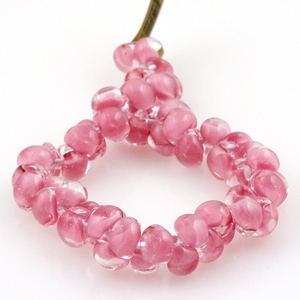 Unicorne Glass Teardrop Beads, Flamingo Dream