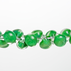 Unicorne Glass Teardrop Beads, Green Apple