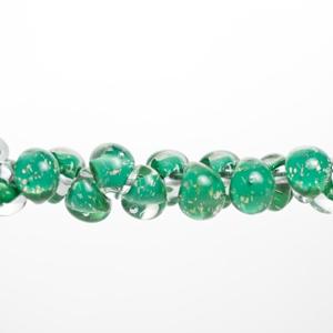 Unicorne Glass Teardrop Beads, Shamrock Glitter